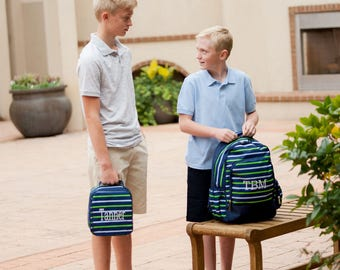 Combo Backpack/lunch bag ~ Blue/Green Stripe Full Size Bookbag Backpack with matching Lunch Bag - Back to School