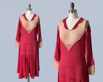 1920s Dress / 20s FUCHSIA Bright Colorful Flapper Day Dress / Pin Tuck Stripes / Flutter Skirt