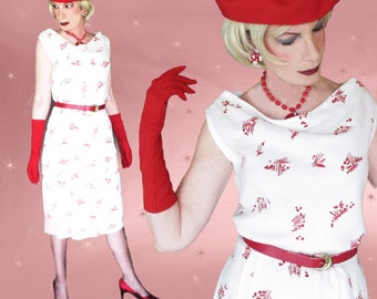1950s Red & White Wiggle Dress - 50s Vintage Sheath -  Size M/L - Warm Weather Holidays