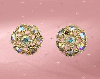 Rhinestone Clip ons - Vintage Sarah Coventry Clip On Earrings - Aurora Rhinestones - 1960s Retro Clip Earrings - Rhinestone Clip Earrings