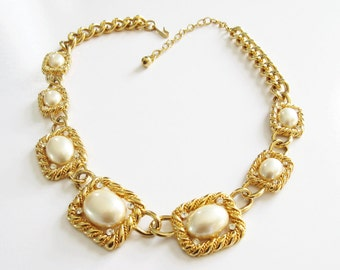 Trifari Pearl Necklace Gold Tone and Pearl with Rhinestones Vintage Trifari Wedding Jewelry