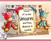 INSTANT DOWNLOAD Kawaii Big Eye Unicorn With and Without Holiday Ornaments - Twinkles No.358 A & B by Lizzy Love