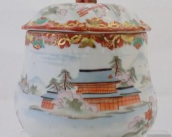 "Antique Japanese Kutani Biscuit Jar Late Meiji Period 7"" Tall Cookie Jar"
