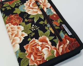 Standard case in Burnt Orange and Black metallic floral, for circs, tips and short dpns