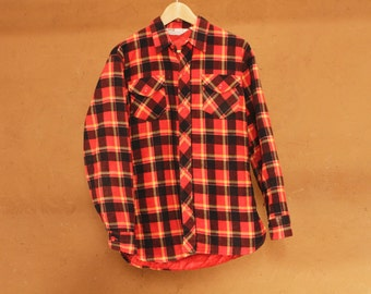 90s nirvana GRUNGE plaid FLANNEL oversized shirt quilted lining