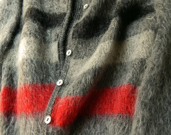 1960s McGregor Cardigan. Her Sweater. Gorgeous Shaggy Mohair Wool Sweater. Black Red Gray Stripes. Size 40