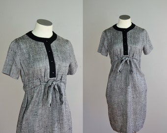 Vintage 1960s Black & White Flecked Silk Dress. 60s Striped Knit Toni Lynn Dress. Small Medium