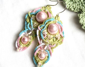 Pearl Artisan Fiber Tatting Colorful Dangle Chandelier Style Earrings