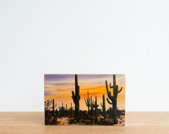 Americana Vintage Postcard Art Block 'Desert Sunset' - arizona desert, giant cactus, saguaro cactus, retro postcard, vintage art