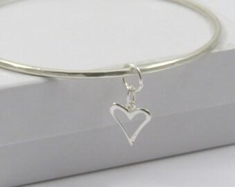 Solid Sterling Silver Bangle with Heart - Bangle Bracelet - SS Bangle - Sterling Silver Bangle -  Hammered Bangle - Bridesmaid Gift