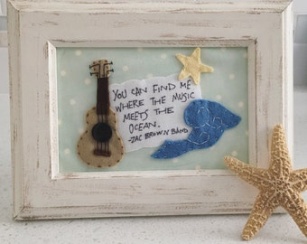 You can find me where the music meets the ocean, Felt Art, Beach Decor, Zac Brown Band Lyrics, Gift for a Musician, Nursery Decor