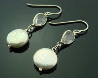 Rose Quartz and Coin Pearl 925 sterling silver Earrings