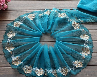 2 Yards Lace Trim Flower Floral Embroidered Scalloped Lakeblue Tulle Lace 7.48 Inches Wide High Quality