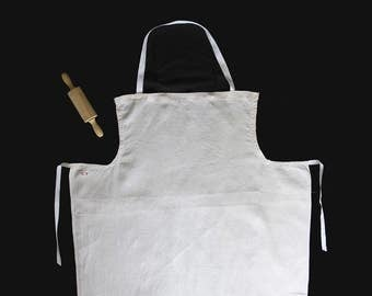 Antique French linen apron handmade pinny, monogramed, metis