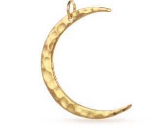 Charm Hammered Crescent Moon 24Kt Gold Plated Sterling Silver 34x23.1mm - 1 pc Wholesale Price (11214)/1