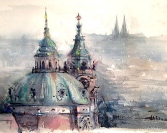"Cityscape Prague - 15"" x 21"" WATERCOLOR ORIGINAL PAINTING"