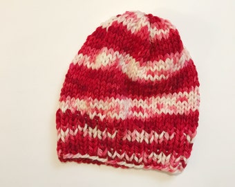 Red and White Hand Dyed Pure Merino Soft Slouchy Beanie Hat