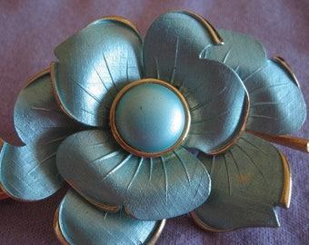 Large floral brooch, aqua flower