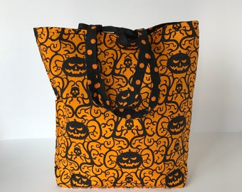 Fabric Gift Bag with Handles Large - Halloween Jack o'Lanterns