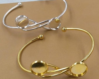 4pcs Gold/Silver Adjustable Bracelets withDouble 12mm Round Edge Setting