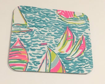 Mouse Pad made with Lilly Signature fabric You Gotta Regatta