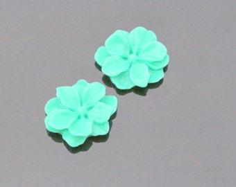 Emerald Green Resin Wild Flower Flat Back Cabochon, Resin Flower Embellishments, Jewelry Making Supplies, KH32304