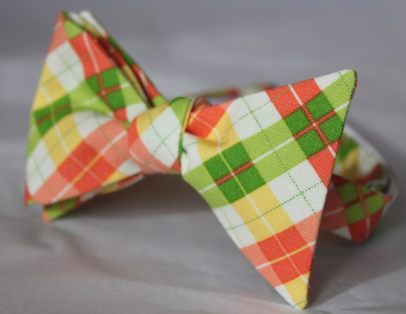 Spring Coral Pink, Green and Yellow Plaid Bowtie - clip on, pre-tied with strap or self tie - wedding, holiday, Valentine's Day