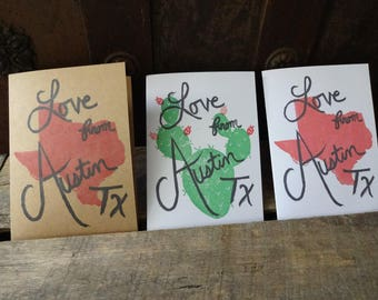 Love From Austin Tx! Stamped Note Card, Austin, Texas, ATX, SXSW, ACL, Cactus, Lonestar, Greeting Card, Hand Carved Stamp, Stamped