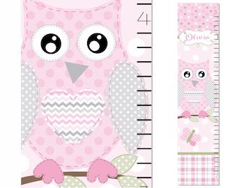 Owl Personalized Growth Chart Soft Blush Pink gray Plaid Chevron Polka Dot Nursery Decor