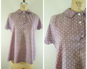 Vintage 1950s Maternity Top / Pink Cotton Blouse / Cactus Novelty Print