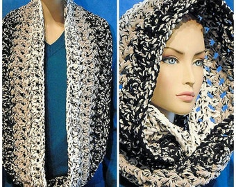 Black Crochet Infinity Scarf, Gray Infinity Scarf, White Infinity Scarf, Black Chunky Infinity Scarf, Black White Crochet Infinity Scarf