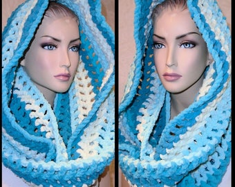 Crochet Scarf, Teal Crochet Infinity Scarf, Teal Scarf, Plush Crochet Scarf, Infinity Scarf, Crocheted  Scarf, Chenille Infinity Scarf