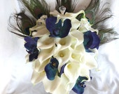 Reserved Calla lily blue orchid and peacock feather bouquet set
