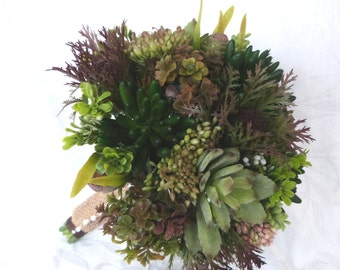 Artificial Succulent bridal bouquet with matching boutonniere