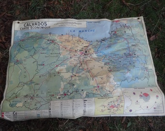 Vintage French Map Calvados Normandy Large Double Sided School Maps Industry Terrain circa 1965 / English Shop