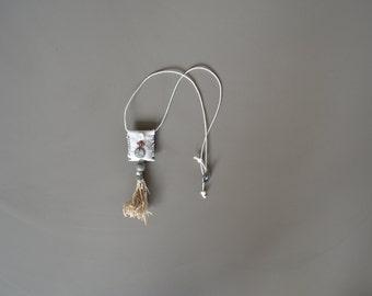 boho artisan fiber pendant necklace with lavender pouch - white boho grainsack fiber necklace - lavender pouch necklace - lavender amulet
