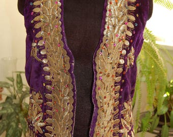 Vintage Uzbek velvet women s  vest gold embroidery