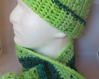 Ladies Lime Green and Teal Hat and Scarf