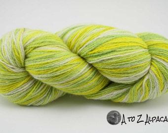 Hand Dyed Pure Alpaca Yarn Worsted Weight - Lemon Lime Meringue