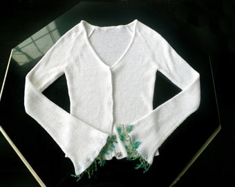 vintage 90's white knit blouse . form fitting . with bead trimmed sleeves . size small . extra small