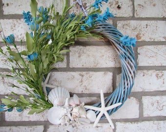 Blue Coastal Wreath with Starfish, Coral and Shells