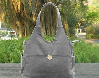 March Sale 10% off gray cotton canvas messenger bag, fabric tote bag for women, canvas shoulder bag, school bag, travel bag