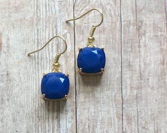 Nickel free!  Gorgeous navy crystal dangle earrings