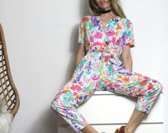 80s Vintage Abstract Floral Jumpsuit Rare Beautiful Painterly Print Onesie