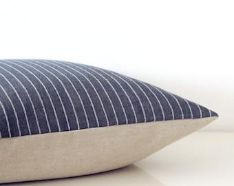 Indigo blue striped pillow - organic cotton pillow in navy blue and white, coastal style, eco friendly decor
