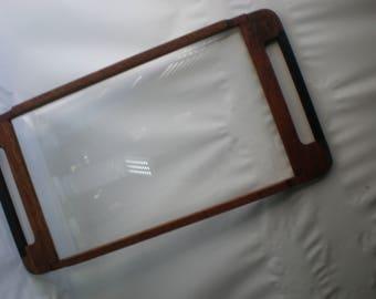 Mid Century Herculite Teak Wood and Glass Serving Tray