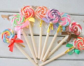 The SUCKER PENS....lollipop. kawaii. unisex. gift. him. her. rainbow. office. lips. mouth. gag gift. spy. ballpoint pens. candy. fake food