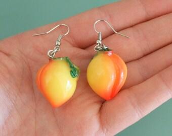 The PEACH EARRINGS...kitsch. retro. fruit. earrings. beads. jewelry. melon. kitschy charms. berries. kawaii earrings. yellow. hawaiian