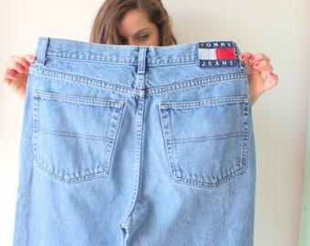 Vintage TOMMY HILFIGER Pants...grunge. hipster. retro. blue jean. hippie. acid wash. 1990s. designer. mens. womens. designer jeans. rad