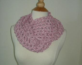 Handmade Peppermint Crochet Scraf/Cowl in T-Shirt Yarn